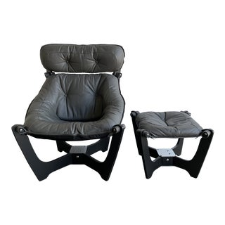 Contemporary Luna Lounge Chair and Ottoman - a Pair For Sale