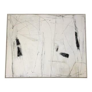 Abstract Black and White Mixed Media Painting For Sale