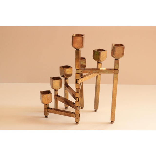 Contemporary Articulated Brass Candleholder For Sale - Image 3 of 9
