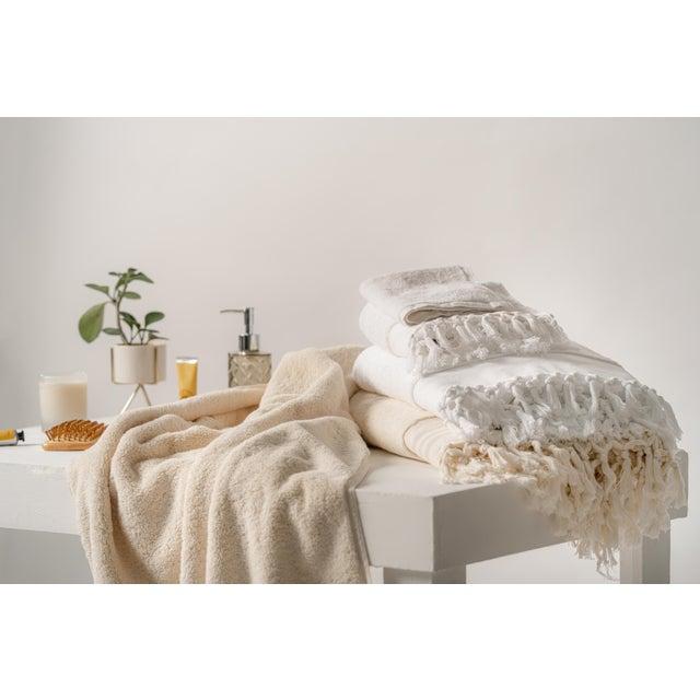 Plush & Bare Handmade Organic Cotton Bath Towel in White For Sale - Image 6 of 9