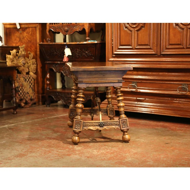 Early 20th Century Spanish Carved Walnut Writing Table With Iron Stretcher For Sale - Image 10 of 12