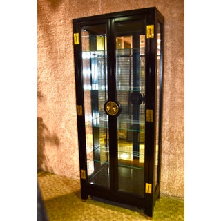 1970s Vintage Asian Two Door Lighted Curio With Black Lacquer Finish & Brass Mounts Preview