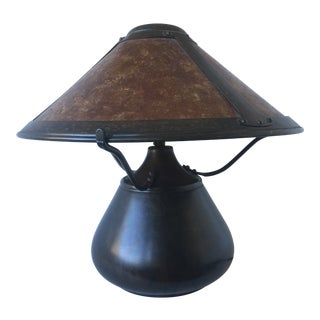 Dirk Van Erp Hammered-Copper and Mica Table Lamp For Sale