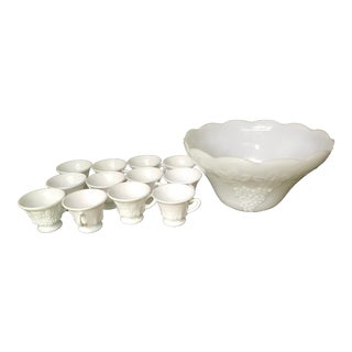 Early 20th Century Vintage Milk Glass Scalloped Punch Bowls- Set of 13 Pieces For Sale