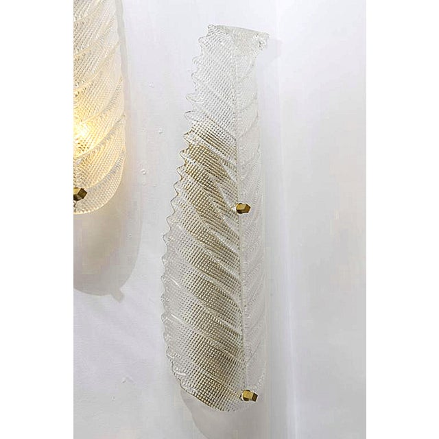 Art Deco Large Mid Century Modern Murano Textured Clear Glass Leaf Sconces- A Pair For Sale - Image 3 of 6