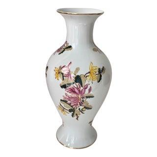 1980's Hand Painted Floral Gilt Porcelain Vase For Sale
