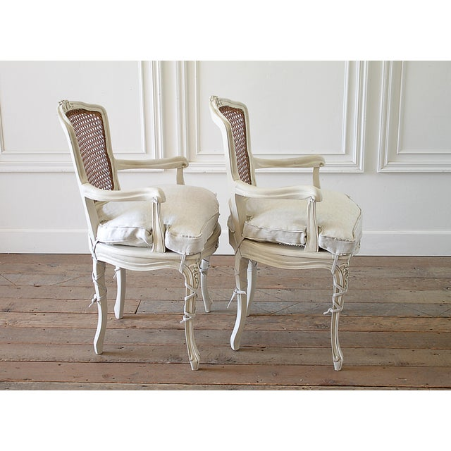 20th Century Vintage Painted Cane Back Open Arm Chairs- A Pair For Sale - Image 10 of 13