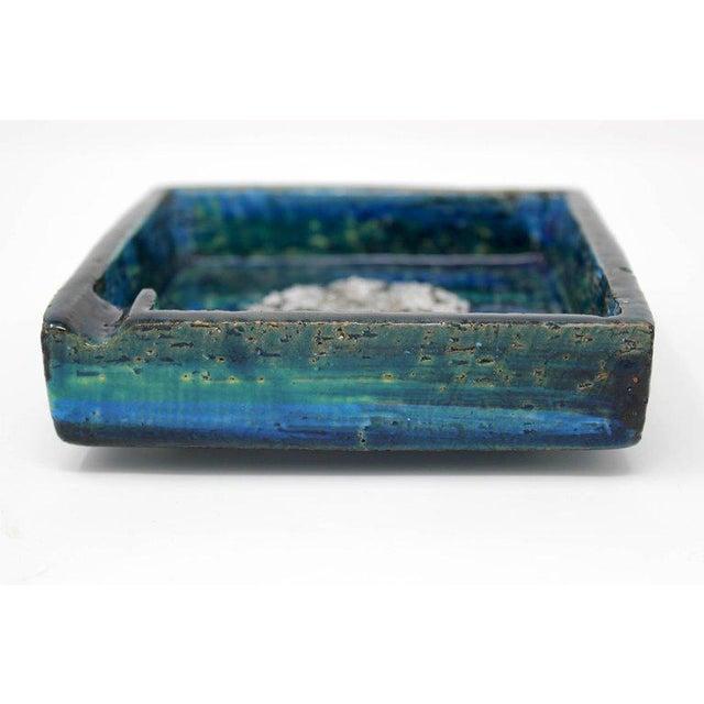 Mid-Century Modern 1960s Bitossi Ceramic Blue Ashtray For Sale - Image 3 of 10