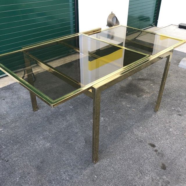Vintage Dia Brass Lacquer and Glass Expanding Dining Table