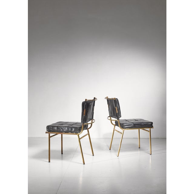 Mid-Century Modern Mathieu Mategot Rare Pair of Brass and Leather Chairs, France For Sale - Image 3 of 8