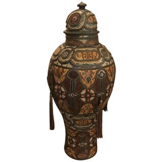 19th Century Moroccan Porcelain and Metal Palace Urn