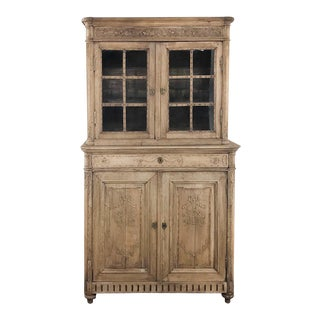 19th Century Country French Stripped Louis XVI Vitrine - Cabinet For Sale