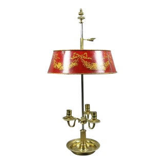 Louis XVI Brass and Red Tole Bouillotte Lamp For Sale