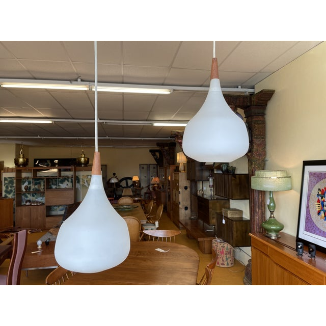 Adjustable Height Mid Century Teak and Glass Pendant Light / Lamp - One Left For Sale - Image 9 of 9