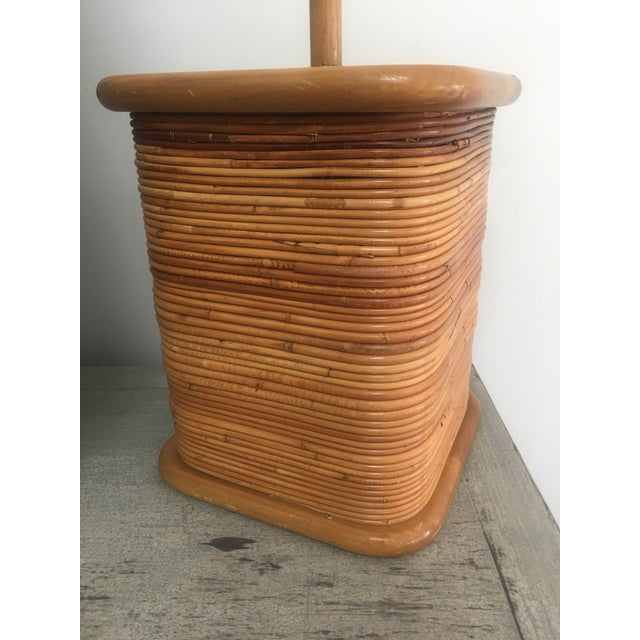 Vintage 1970s Gabriella Crespi Style Pencil Reed Table Lamp For Sale - Image 10 of 12