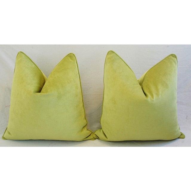 "24"" Custom Tailored Apple Green Velvet Feather/Down Pillows - Pair - Image 7 of 12"