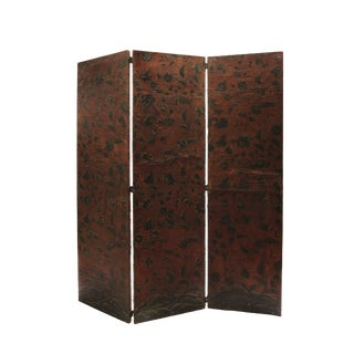 18th Century 3 Panel Leather Floor Screen For Sale