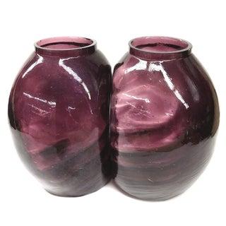 Twin Vintage Amethyst Glass Vases Heather Plum - 2