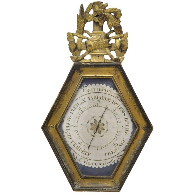 18th Century French Louis XVI Carved Gold Leaf Hexagonal Barometer For Sale
