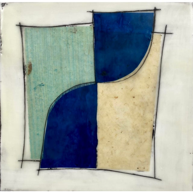 """Mid-Century Modern """"Elsewhere"""" Original Encaustic Collage Installation by Gina Cochran - Blue and Teal - 16 Panels For Sale - Image 3 of 13"""