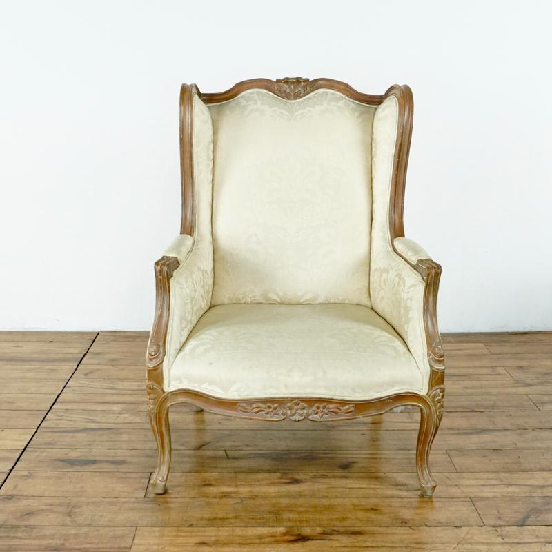 Bon Shabby Chic Vintage Upholstered Wingback Chairs   A Pair For Sale   Image 3  Of 8