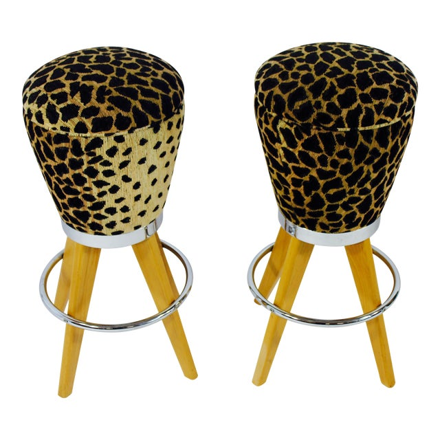 Leopard Skin Fabric & Maple Bar Stools- A Pair - Image 1 of 4