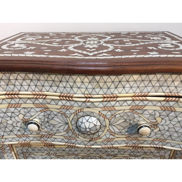 Islamic Syrian Middle Eastern White Mother-Of-Pearl Inlay Wedding Dresser For Sale - Image 3 of 12