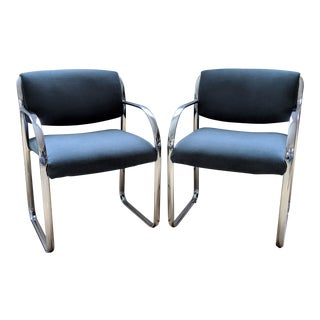 Restored Flat Bar Chrome Armchairs by Steelcase - a Pair For Sale