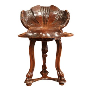 19th Century French Carved Walnut Adjustable Shell Shaped Piano Stool For Sale