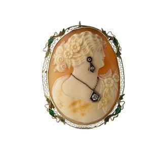 Art Deco 14k White Gold Emerald Diamond Cameo Pin / Pendant For Sale