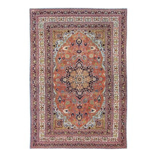 Antique Fine Tabriz Persian Rug With Circular, Script-Style Medallion & Orange Field For Sale