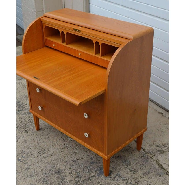 Mid-Century Modern Swedish Art Moderne Elm Roll-Top Secretary Writing Desk For Sale - Image 3 of 11