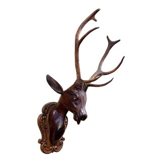 18th Century Antique Baroque Black Forest Wood Carved Stag Head With Antler Plaque For Sale