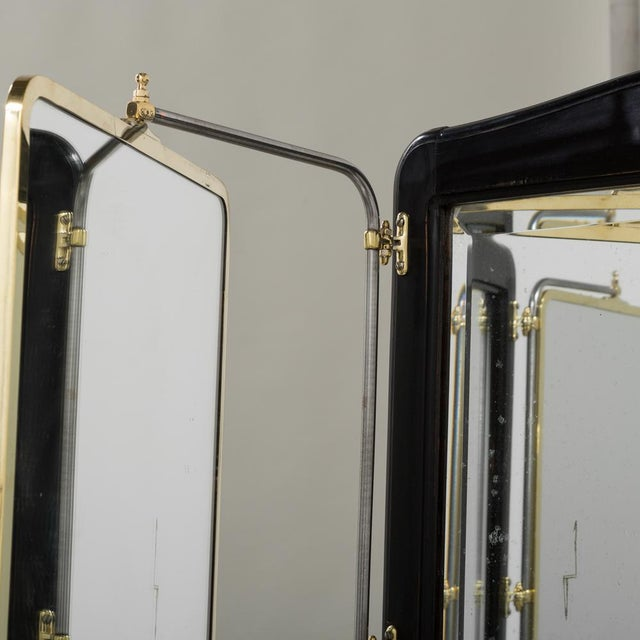 Brass French Brass and Ebonised Wood Mirrored Screen Circa 1890 For Sale - Image 7 of 9