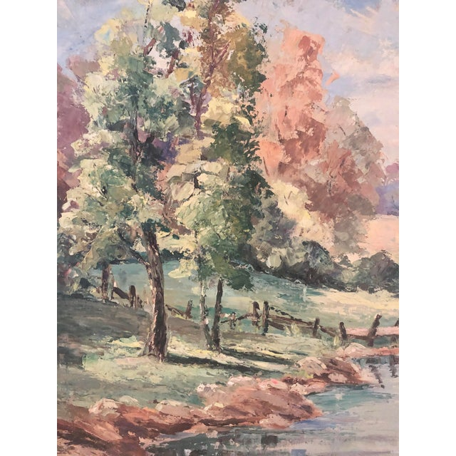 Traditional Mid-20th Century Landscape Oil Painting For Sale - Image 3 of 9