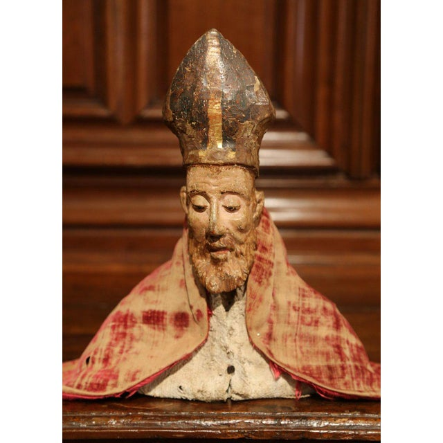 Religious 17th Century Spanish Carved Walnut Polychrome Bishop Bust With Velvet Cassock For Sale - Image 3 of 8