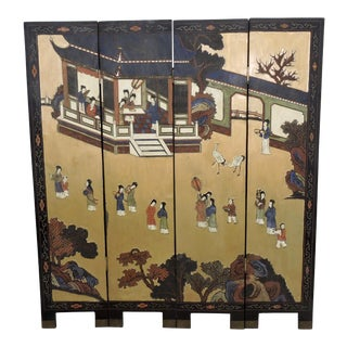 The Blue Pavilion, Chinoiserie Black Lacquer 4 Panel Half Screen or Fireplace Screen For Sale