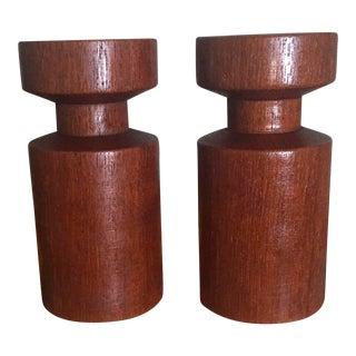 Vintage Sculptural Danish Modern Teak Wood Candle Holders - Set of 2