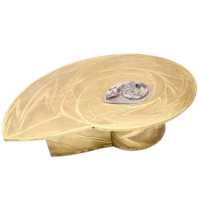 One-of-a-kind brass coffee table by Marc D'Haenens. Arguably his masterpiece, signed by the artist. Form and graphics...