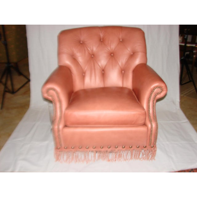 Leather Chairs With Tufting & Fringe - Pair - Image 3 of 7