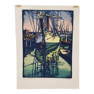 "William Seltzer Rice (American, 1873-1963) ""Port of the Golden Gate"" Woodblock Print C.1930s For Sale"