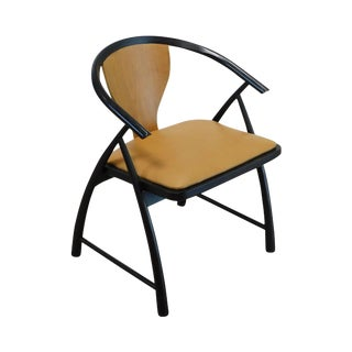 Baker Mid Century Modern Leather Seat Ebonized Armchair Attributed to Tommi Parzinger For Sale
