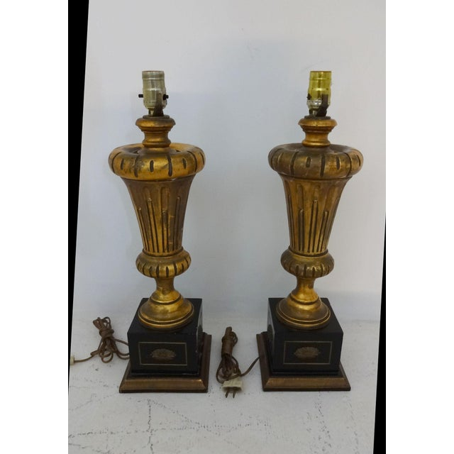 Neoclassical Vintage Gilded Wood Lamps - A Pair For Sale - Image 3 of 7
