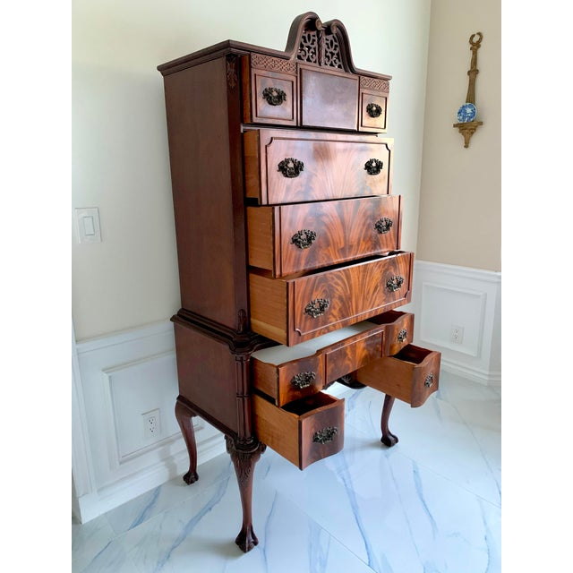 Antique Ca 1900's Georgian Chippendale English Style Mahogany Claw Feet Highboy Dresser For Sale - Image 10 of 13