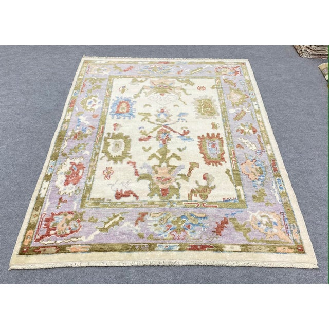 Turkish Contemporary Floral Hand-Knotted Oushak Area Rug For Sale - Image 4 of 13