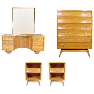 Rare Paul Frankl Four-Piece Bedroom Set for Brown Saltman For Sale