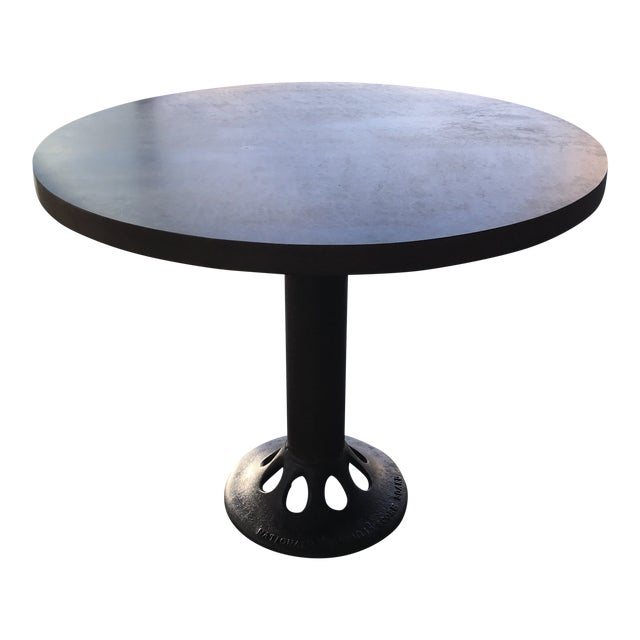 Contemporary Custom Round Metal Top Table on Found Iron Base For Sale