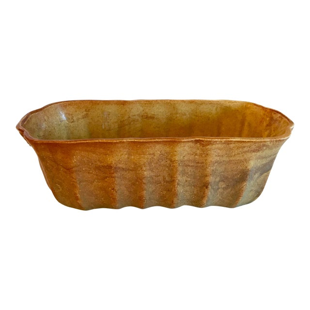 Vintage Gold and Orange Two Tone Ribbed Planter For Sale