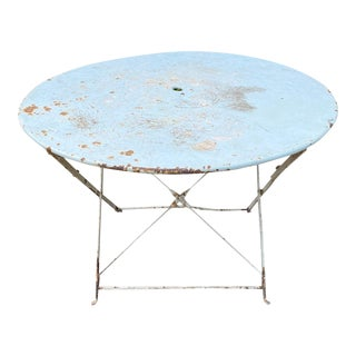 1930s French Painted Round Metal Folding Table in Sky Blue For Sale