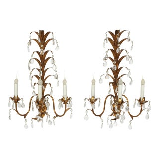 Pair of Gilt Metal Bagues Style Sconces With Crystals For Sale